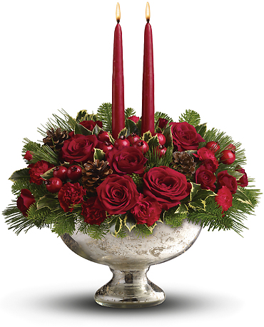 Mercury Glass Bowl Bouquet